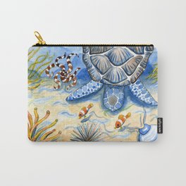 Sea Turtle - Bottom of the Sea Watercolor Painting Carry-All Pouch