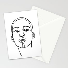 Woman's face line drawing illustration - Addie Stationery Cards