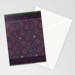 Lotus flower patchwork with green border, woodblock print style pattern Stationery Cards
