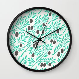Olive Branches – Turquoise & Black Palette Wall Clock