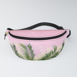 Palm leaves in the wind ( coral pink ) Fanny Pack