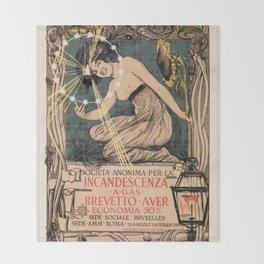 Italian art nouveau street gas lighting ad Throw Blanket