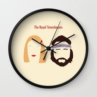 royal tenenbaums Wall Clocks featuring The Royal Tenenbaums, Margot, & Richie by bonieiji