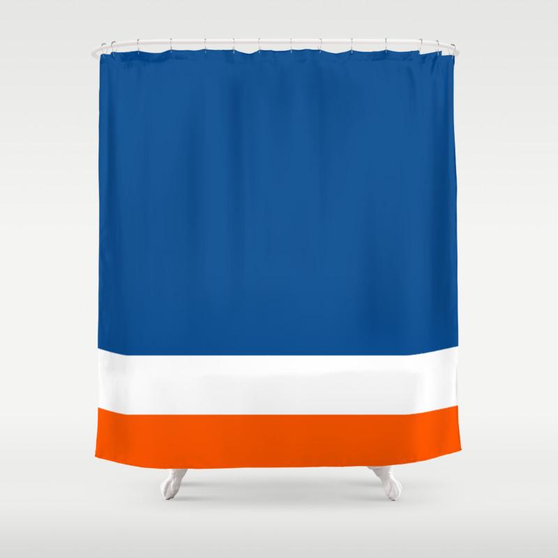 Uneven Brilliant Blue Dazzling White Cosmic Orange Striped Shower Curtain