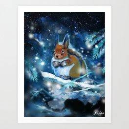 Squirrel in winterwonderland Art Print