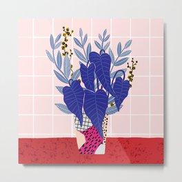 Alocasia Vase Metal Print
