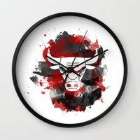 chicago bulls Wall Clocks featuring Bulls Splatter by OhMyGod, SoGood!