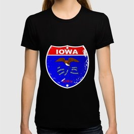 Iowa Flag Icons As Interstate Sign T-shirt