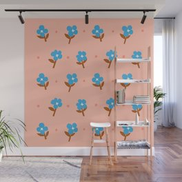 Abstraction_Little_Blue_Flowers Wall Mural