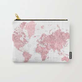 Light pink watercolor world map with cities, square Carry-All Pouch