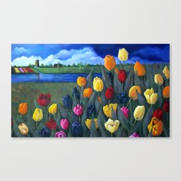 Tulips with Dutch Landscape Canvas Print