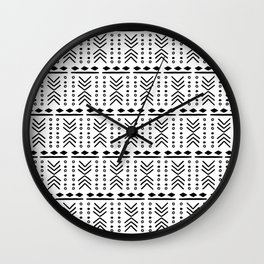 Mudcloth White Wall Clock
