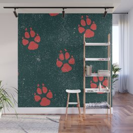 Distressed Tiger Paw Pattern Wall Mural