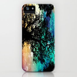 Black Trees Colorful Space iPhone Case