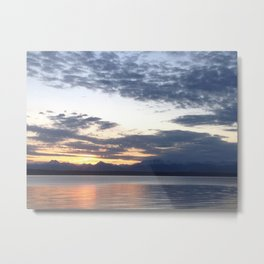 Mountain sunset on the water Metal Print