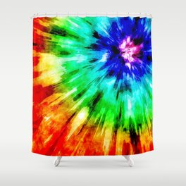 Tie Dye Meets Watercolor Shower Curtain