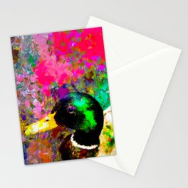 mallard duck with pink green brown purple yellow painting abstract background Stationery Cards