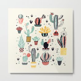 Cacti in a Flower Pot Metal Print