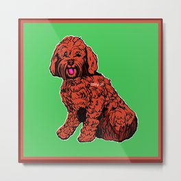Labradoodle Illustration with Green Metal Print