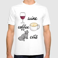 Wine Coffee Cats Mens Fitted Tee White LARGE