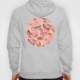 Dragonflies, Butterflies and Moths With Plants on Flamingo Pink Hoody
