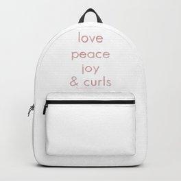 Love, Peace, Joy & Curls Backpack