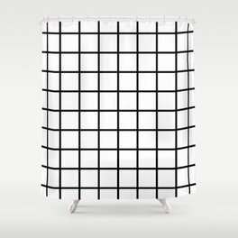 GRID DESIGN (BLACK-WHITE) Shower Curtain