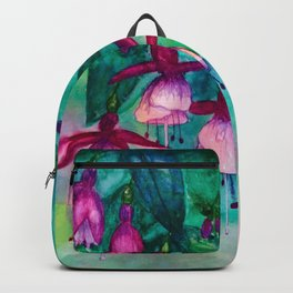Watercolor fuschia flowers whimsical painting Backpack
