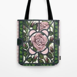 Stained Glass Roses Tote Bag