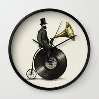 bike Wall Clocks featuring Music Man by Eric Fan