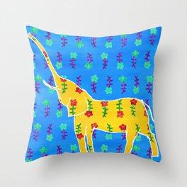 Elephant - yellow Throw Pillow