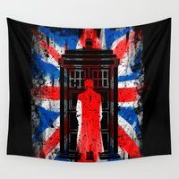 uk Wall Tapestries featuring 10th Doctor Tardis UK flag vintage old by BomDesignz