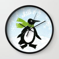 chill Wall Clocks featuring Chill by MollyBroadley