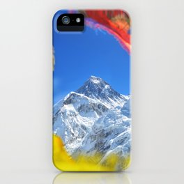 Summit of mount Everest or Chomolungma - highest mountain in the world, view from Kala Patthar,Nepal iPhone Case