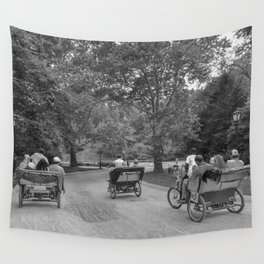 Strolling in Central Park B&W photo Wall Tapestry
