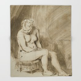 Nude Woman Seated on a Stool Throw Blanket