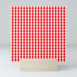 Large Christmas Red and White Gingham Check Plaid Mini Art Print