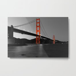 Golden Gate Bridge in Selective Black and White Metal Print