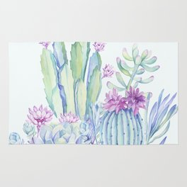 Mixed Cacti Light Blue #society6 #buyart Rug
