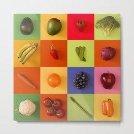 Modern Tile Collage of Fresh Organic Produce Metal Print