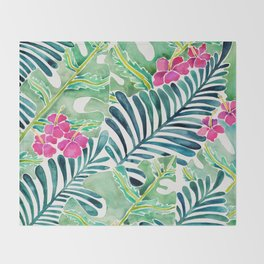 Lush Tropical Fronds & Hibiscus Throw Blanket