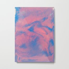 Abstract pink and blue sky paining in fluid art style Metal Print