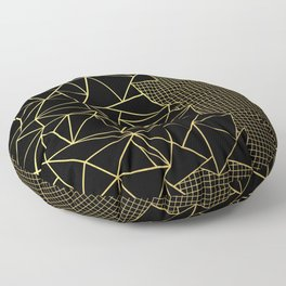 Ab Outline Grid Black and Gold Floor Pillow