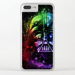 Darth Vader Helmet StarWars Art - Digital Splash Painting Clear iPhone Case