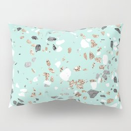 Glitter and Grit Marble Mint Green Pillow Sham
