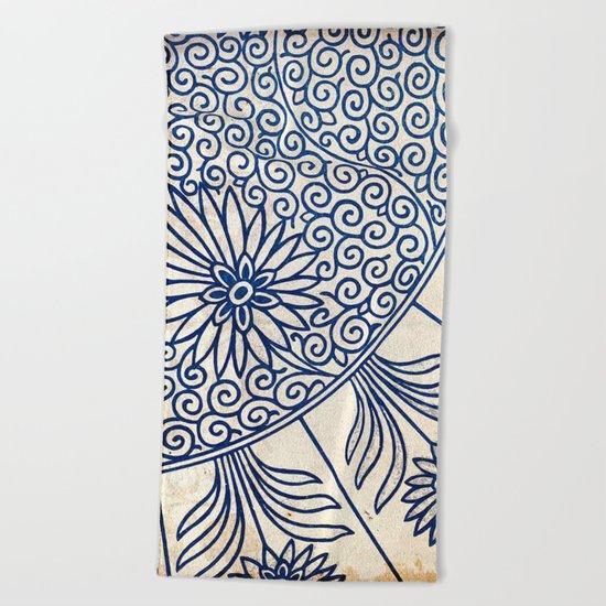 Blue Oriental Vintage Tile 01 Beach Towel