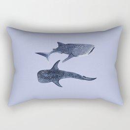 TWO WHALE SHARKS (light blue) Rectangular Pillow