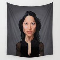 celebrity Wall Tapestries featuring Celebrity Sunday - Lucy Liu by rob art | illustration