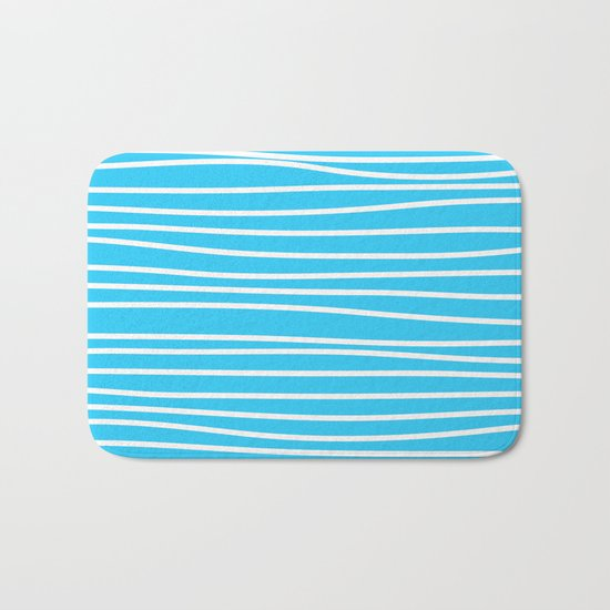 Simply small aqua and white handrawn stripes - horizontal - for your summer on #Society6 Bath Mat