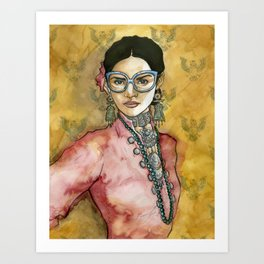 Aztec woman Art Print